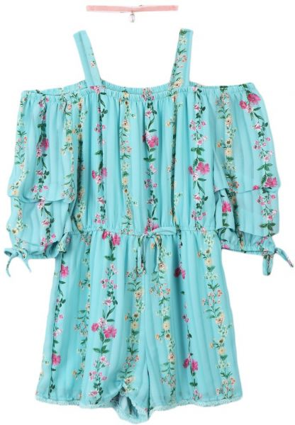 def559b48dd Speechless Big Girls  Off The Shoulder Romper With Tiered Sleeves ...
