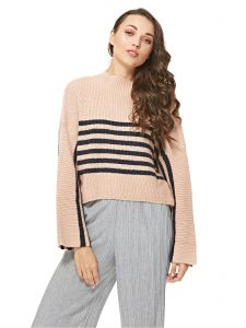 173e8d582a21e4 Native Youth Navy & Pink Striped Knit Pullover Top For Women