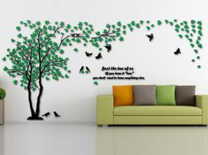 3d Wall Decals Trees Diy Wall Stickers Acrylic Tree Wall Murals Tv Setting Wall Sofa Setting Wallpaper For Home Decor Green