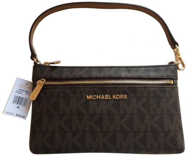 4eef76c7f1f99 Michael Kors Jet Set Travel Large Wristlet MK Logo Brown PVC Bag ...