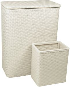 Redmon Collection Chelsea Pattern Wicker Nursery Hamper Espresso 24 Piece 721ESP