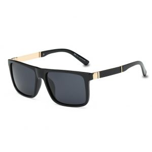 1819c4628d3be DONNA Trendy Oversized Square Aviator Polarized Sunglasses Wayfarer Style  with Big Unbreakable Frame and Anti-glare Lens D54(Black Lens Gold arms)