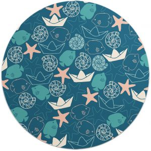 Loud Universe Round Nautical World Paper Boat And Star Fish Pattern Flexible Non Slip Mouse Pad