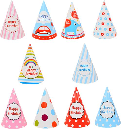 10pcs Lovely Paper Cone Birthday Party Hats For Children And Adults Supplies