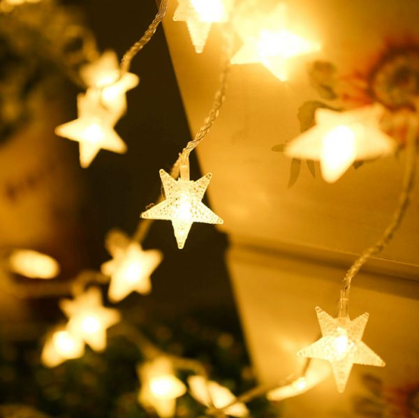 LED lights flashing lights, outdoor landscape LED ball lamp string battery Christmas star decorative light string