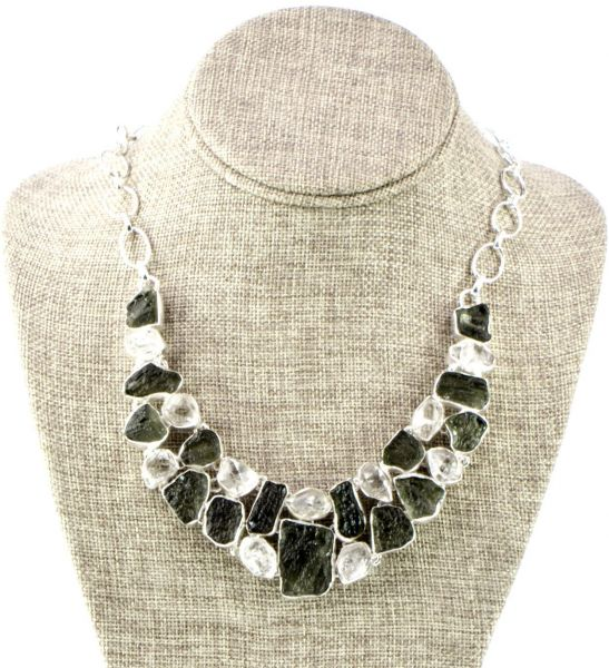 Necklace Made in Silver with Natural Stones Moldavaite and Herkimer -Model MDN002