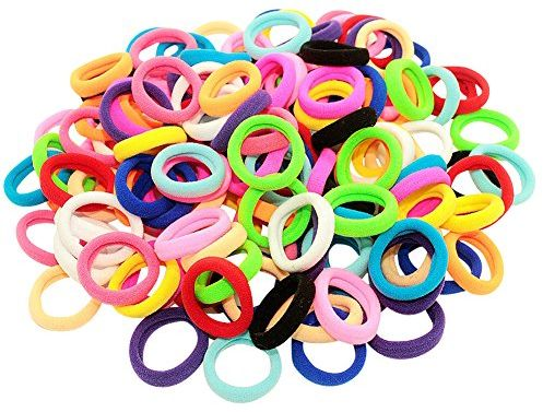 Bzybel Pack of 100 Small Terry Elastic Tiny Ponytail Hair Band ... 0fc4f24768b