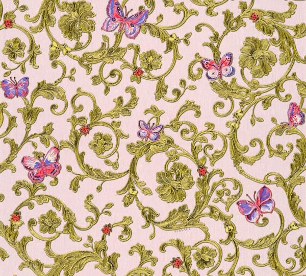 Souq versace iii collection of classical wallpaper in pink flower 56000 aed mightylinksfo