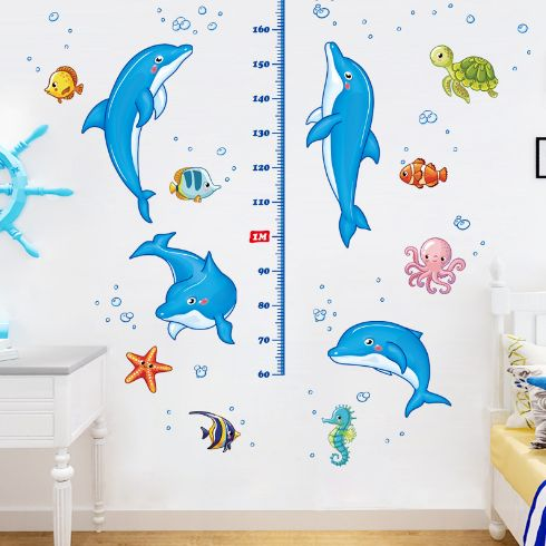 Kids room dolphin height measure wall stickers removable cartoon nursery wall decals nemo fish waterproof bathroom wall decals-xx