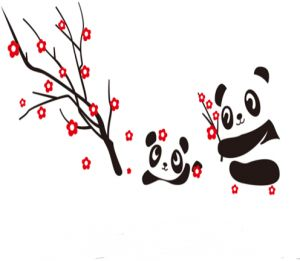 Cartoon Cute Panda Plum Flower Tree Wall Sticker Decal Living Room Bedroom Home Decoration Adhesive Diy Art Wall Mural Buy Online Wallpaper Decals At Best Prices In Egypt Souq Com