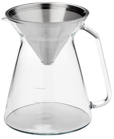 Coffee maker, clear glass, stainless steel