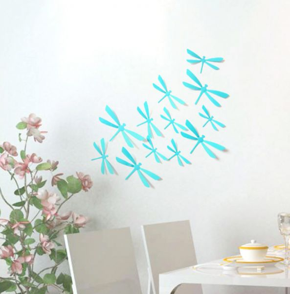 12pcs 3d diy decor dragonfly home party wall stickers pvc art decal
