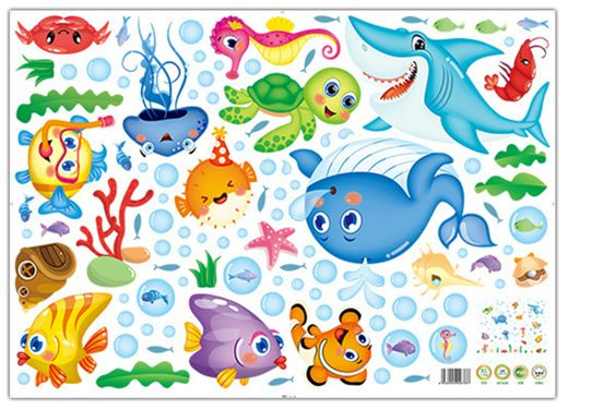 Wall Stickers With Under The Sea Design Peel And Stick Deep Blue