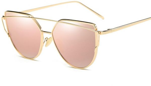 374880c155 Sunglasses for Women Cat Eye Mirrored Flat Lenses Street Fashion Metal  Frame Girl Sunglasses - Pink