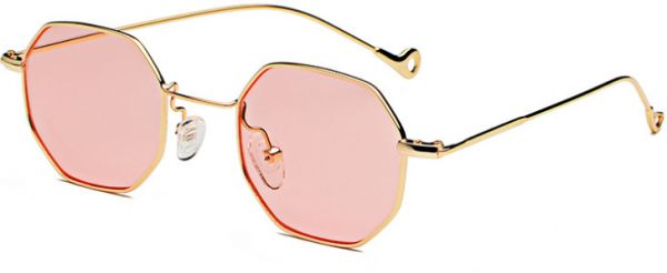 6759399460c Fashion Pink Sunglasses Small frame polygon Clear lens Sunglasses vintage  Sun Glasses Hexagon Metal Frame-ej. by Other