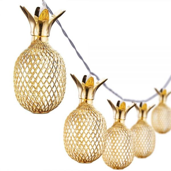 10 LEDs String Lights Gold Metal Mesh Pineapple Decorative Lantern Novelty Fairy Lighting Home Decoration Light for Bedroom Wedding Birthday Party (Warm White, Battery Powered )