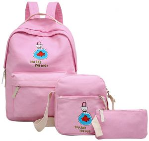 c38f388cd49 Backpack Girl Canvas Zipper School Bag Lady Soft Back Three Pieces Set  SJB415