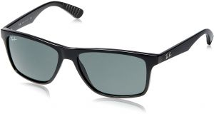 81b6e2f929 Ray-Ban INJECTED MAN SUNGLASS - BLACK Frame GREY GREEN Lenses 58mm  Non-Polarized