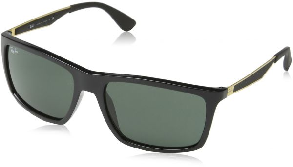 34b469e02d1 Ray-Ban INJECTED MAN SUNGLASS - SHINY BLACK Frame DARK GREEN Lenses 58mm  Non-Polarized