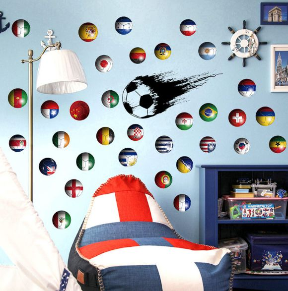 World Cup Soccer Postcard Wall Stickers Children\'s Room Boys Bedroom ...