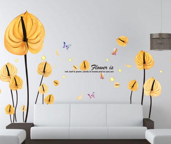 gold anthurium art wall decals flower for living room bedroom | souq