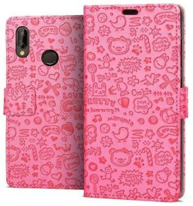 HUAWEI P20 LITE / NOVA 3E Cute Leather Flip Magnetic Wallet Protective Cover case