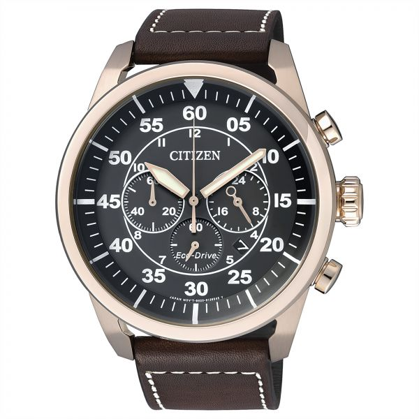 Citizen Women's Black Dial Leather Band Watch - CA4213-00E - Brown