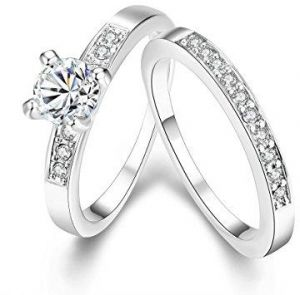 c1399f8403 Engagement Rings Set for Women Girls Cubic Zirconia Crystal Wedding Promise  Bridal Ring Size 7