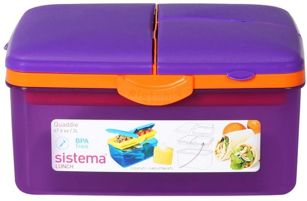 Sistema Lunch Box Food Container (2L, Purple)