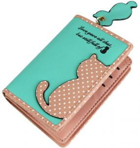 Small Wallet Women Short Cute Female Purse PU Leather Cat Design Girls Lady Zipper Wallets Button Card Holder Bags, Green-QB55-1