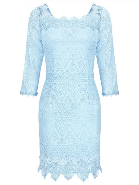 Dress for Women, Evening Cocktail Party On Sale, Light Blue, Cotton, 2017, 10 12 Pinko