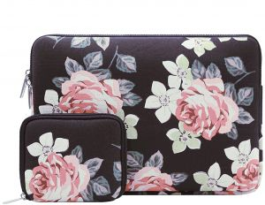 90c777a61 MOSISO Laptop Sleeve Bag for 13-13.3 Inch MacBook Pro, MacBook Air,  Notebook Computer with Small Case, Canvas Fabric Rose Pattern Protective  Carrying Cover, ...