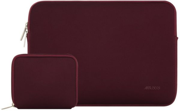 Mosiso Laptop Sleeve Bag for 15 Inch New MacBook Pro with Touch Bar A1990 / A1707 2018 2017 2016 with Small Case, Also Fit 14 Inch Notebook Computer Ultrabook, Water Repellent Lycra Cover, Wine Red