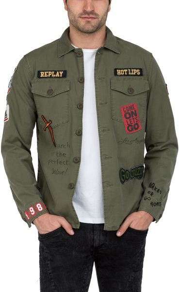 Replay Jeans Jacket With Patches For Men Dark Olive Green Souq Uae