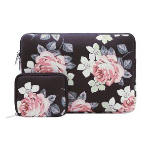 MOSISO Laptop Sleeve Bag for 11-11.6 Inch MacBook Air, Ultrabook Netbook Tablet with Small Case, Canvas Fabric Rose Pattern Protective Carrying Cover, Black