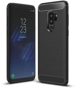 Samsung Galaxy S9 Plus S9+ case Carbon Brushed Soft TPU Shockproof cover - Black