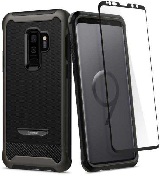 new concept 18cc8 a04c0 Spigen Samsung Galaxy S9 PLUS Reventon case / cover - Gunmetal - Full 360  protection with Glas.tR Curved Glass Screen Protector