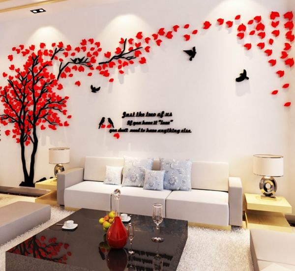acrylic 3d couple tree wall stickers living room bedroom tv