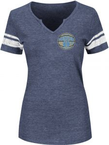 NBA Denver Nuggets Women s Never Defeated Short Sleeve Notch Neck Tee 68f9d9440