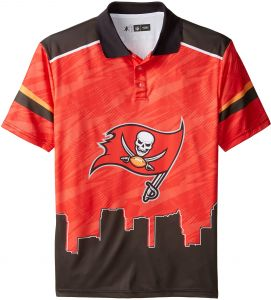 KLEW NFL Tampa Bay Buccaneers Polyester Short Sleeve Thematic Polo Shirt a7ea0dc64
