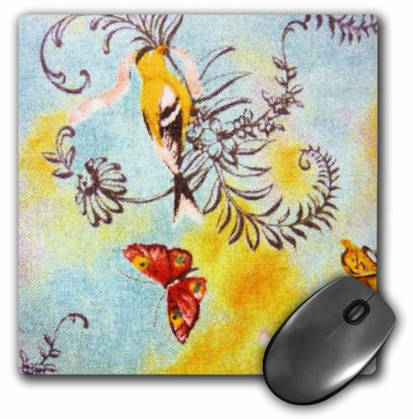 3dRose LLC 8 x 8 x 0.25 Inches Bird and Butterfly Mouse Pad (mp_16780_1)