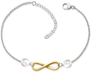 9ed4db418b1 White Gold Plated Chain With Golden Infinity Charm and Pearl Beads Anklet  for Women