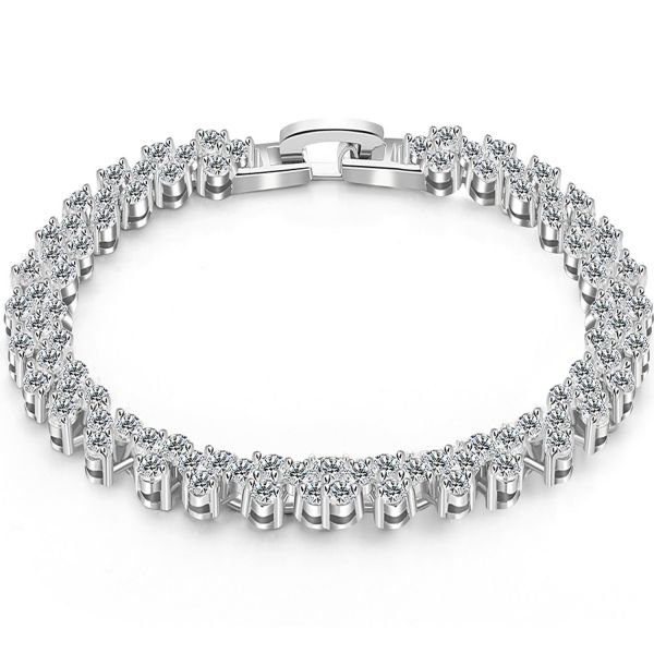 9b5152566e688 JOUDOO Platinum plated Tennis Bracelet Round Cut Hand Chain Jewelry for  Girls