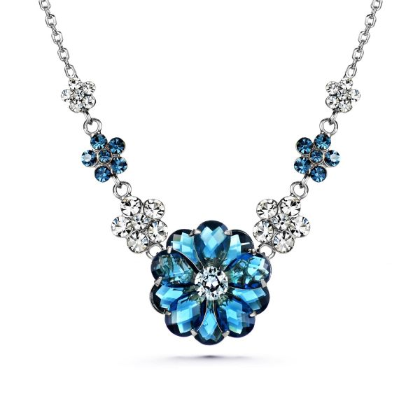 e4bc1335d86a JOUDOO Woman Jewelry 16K Gold Swarovski Crystal Blue Flower Necklace Inlaid  Chain (platinum)