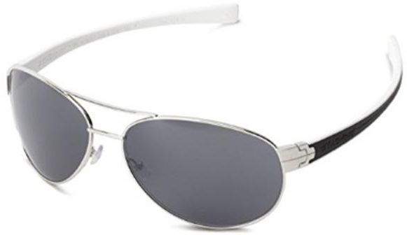 d0992dcdc3ac Tag Heuer Sunglasses Outdoor Silver Metal Front Aviator Shape And Black    White Rubber Temple With Grey Lenses