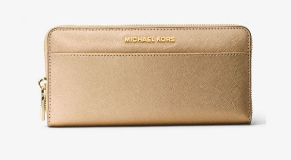 f3c602243f145 MICHAEL MICHAEL KORS Mercer Metallic Leather Continental Wallet - Pale Gold