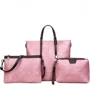 Three Pieces Pink PU Handbags Set dc498154405b4