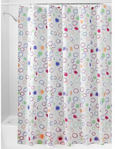 InterDesign Doodle Fabric Shower Curtain Extra Long Polyester Screen With Bright Pattern Design Multicoloured