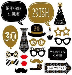 20PCS Happy 30th Birthday Party Photo Props For Men Paper Mask Supplies