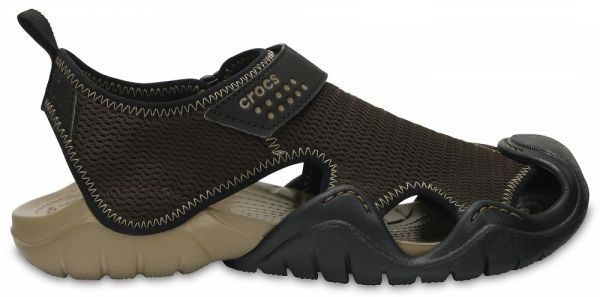 84e8e2c486822 Crocs 203967 Swiftwater Active Snadal For Men - Espresso Khaki